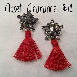 Jewelry - Crystal Snowflake Tassel Earrings